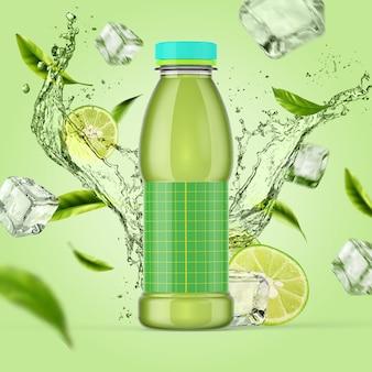 シンプルなフルーツと氷のしぶきを背景にしたボトルのカラフルなモックアップ。ライムとミントのジュースやアイスティー用のプラスチックボトル