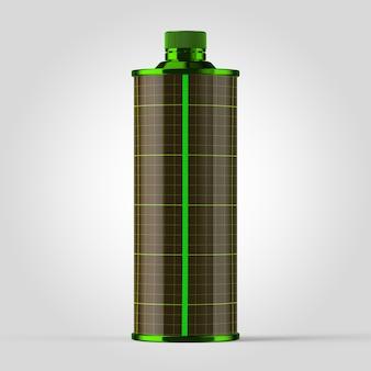 シンプルな背景にジュースや飲み物の濃い緑色の容器のカラフルなモックアップ。飲料用のシンプルな濃い緑色の容器