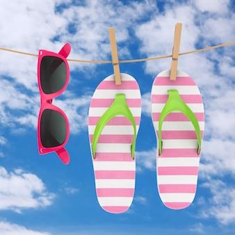 青い空を背景に物干しにぶら下がっているピンクのサングラスとカラフルなモダンなビーチサンダル。 3dレンダリング