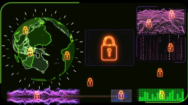 Colorful monitor digital global world map and technology research develpoment analysis to protect ransomware encryption