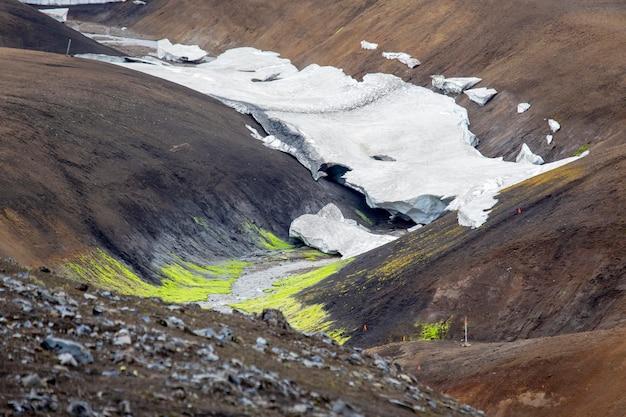 Landmannalaugar, 아이슬란드의 화려한 산 풍경 프리미엄 사진