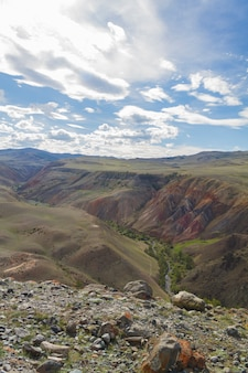 Colorful mountains in altay. top view. stones