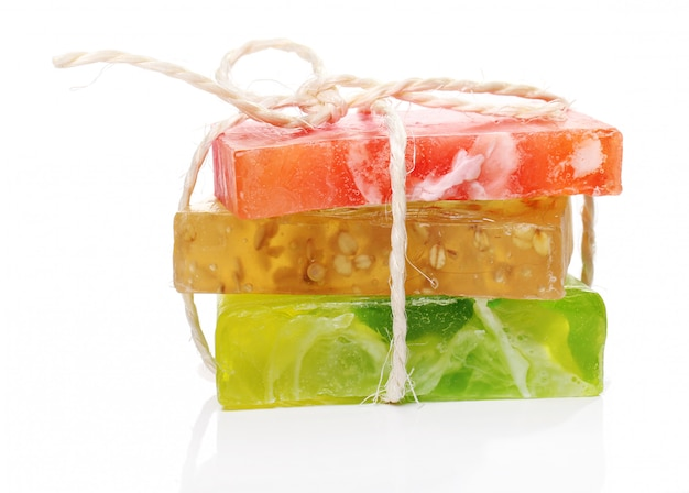 Colorful natural soap pile