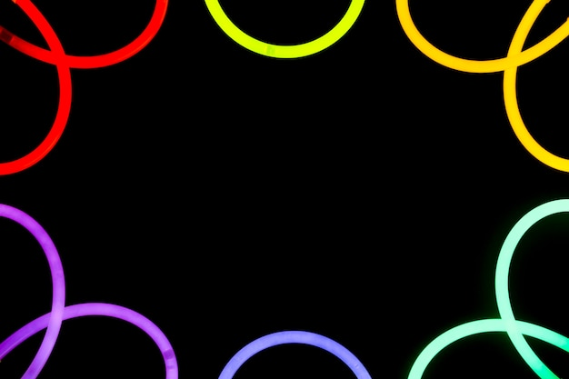 Colorful neon border curved design on black background