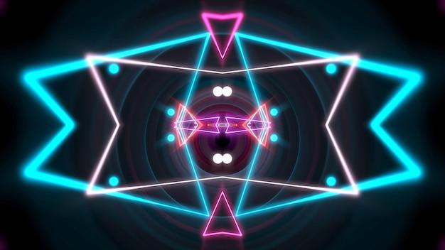 カラフルなネオンの幾何学的な形と空間の線、抽象的な背景。エレガントで豪華なダイナミッククラブスタイルの3dイラスト