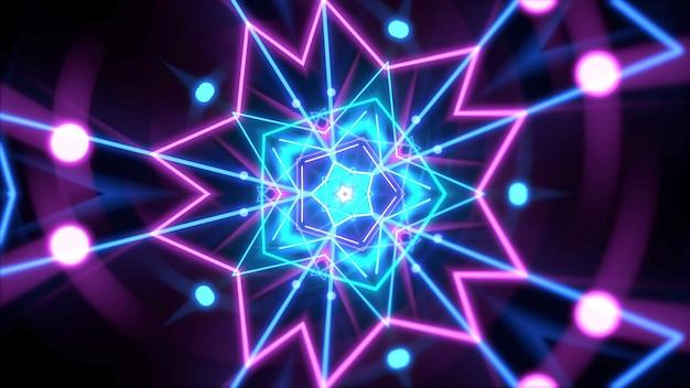 空間、抽象的な背景のカラフルなネオンの幾何学的形状。エレガントで豪華なダイナミッククラブスタイルの3dイラスト