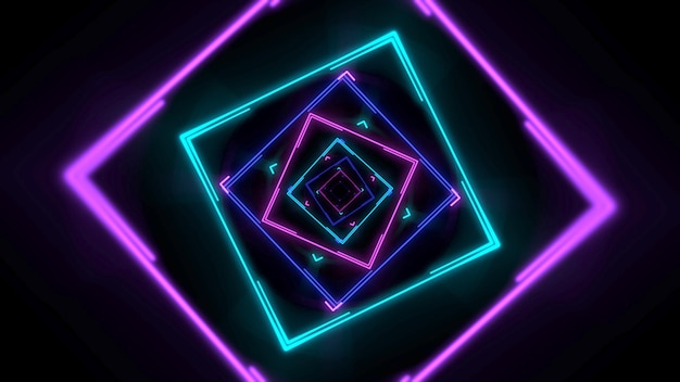 Colorful neon geometric shape in space, abstract background. elegant and luxury dynamic club style 3d illustration