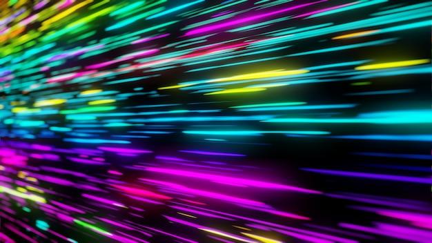 Красочный неоновый свет футуристический поток передачи данных в цифровой технологической анимации 3d-рендеринга