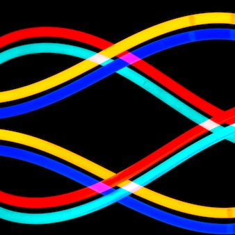 Colorful neon light tube in wavy pattern