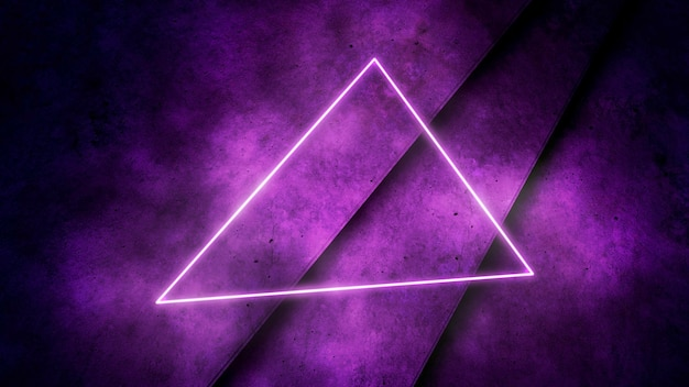 カラフルなネオンライトと三角形のパターン、抽象的な背景。エレガントで豪華なダイナミッククラブスタイル、3dイラスト