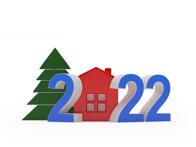 Красочный новогодний номер с домом и елкой