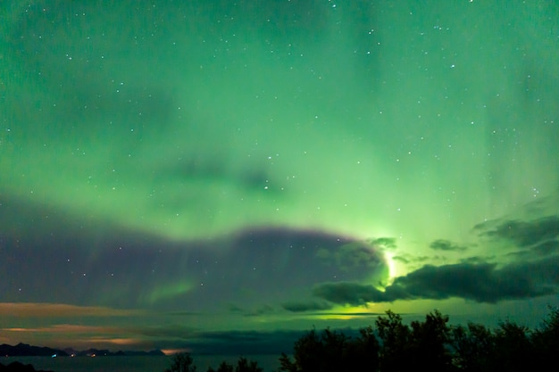 Colorful northern lights  in the sky