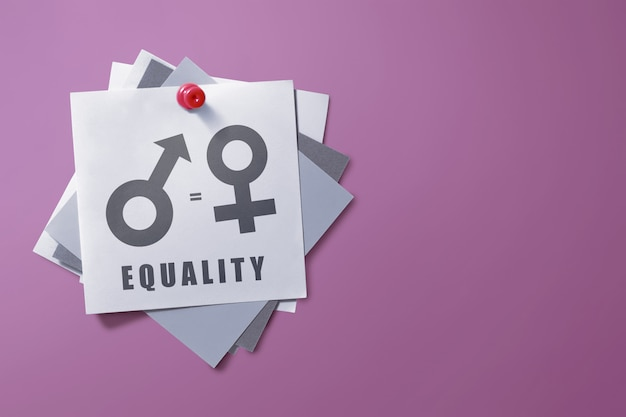 Colorful note paper with symbol of gender equality