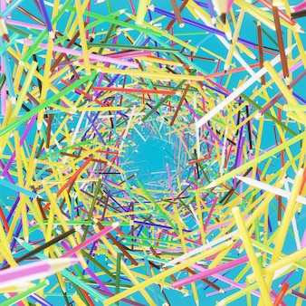 팝 아트 및 시장 혁신 장면의 벽지를 위한 다채로운 색연필 배경