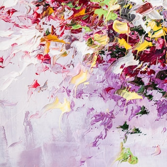 キャンバスにカラフルな油絵。抽象芸術の背景。現代アートワークの断片。ペイントのブラシストローク。