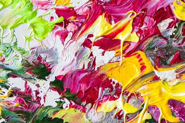 Красочная картина маслом на холсте абстрактное искусство фон фрагмент мазки кисти современного искусства