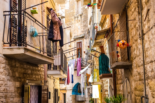 Colorful and old alleys of the touristic italian city of bari.