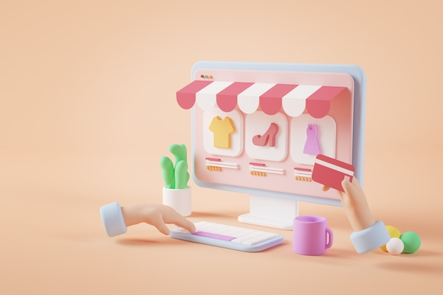 다채로운 온라인 상점 개념 3d 렌더링