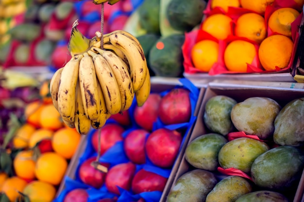 Colorful organic fruits in the marketplace