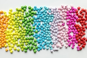 Colorful origami stars background