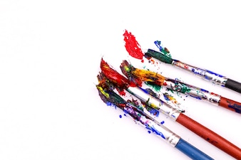 Colorful Paint Brushes with the Colors