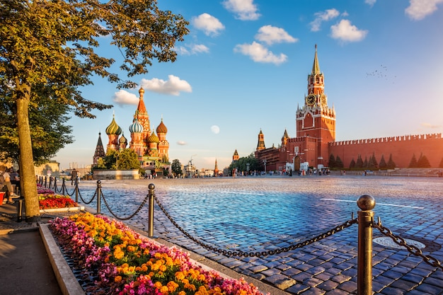Colorful paints of sunset on red square in moscow