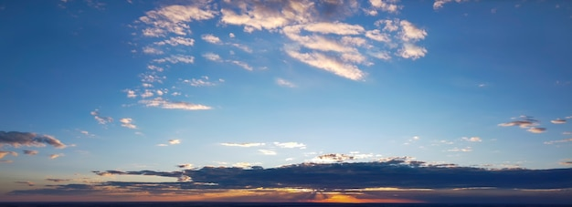 Colorful panorama of the sky during sunrise or sunset.