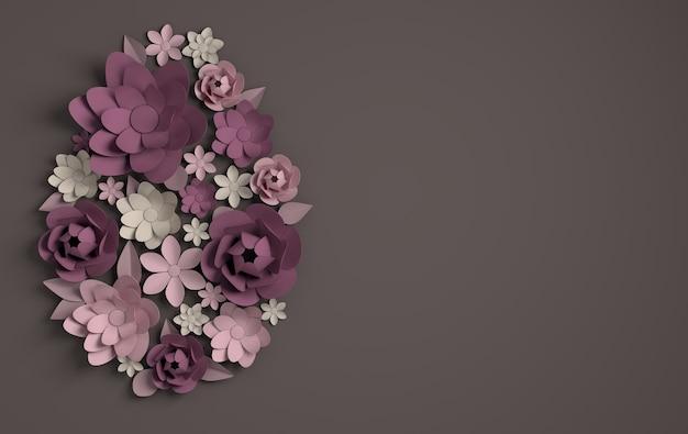 カラフルな紙の花と葉のイースターエッグの形