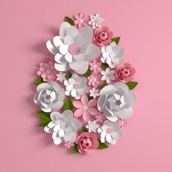 カラフルな紙の花と葉、イースターエッグの形