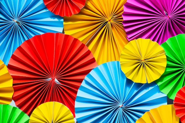 Colorful paper flowers background.