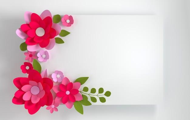 白のカラフルな紙の花