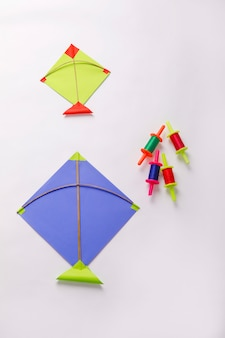 Colorful paper kite, indian festival makar sankranti concept