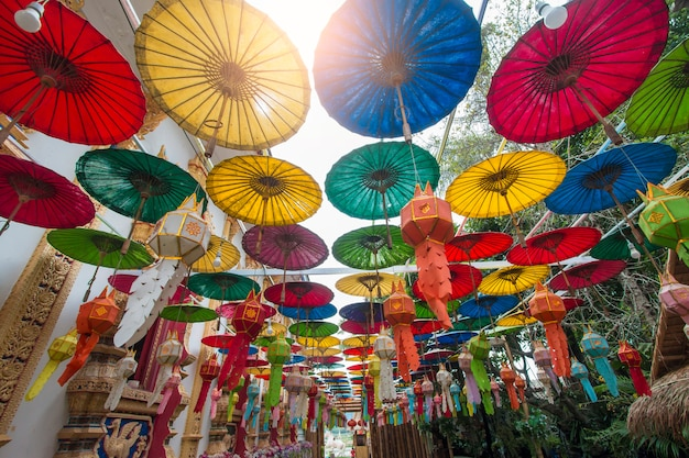 Colorful of paper parasols, paper umbrella
