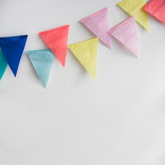 Colorful paper pennant garland