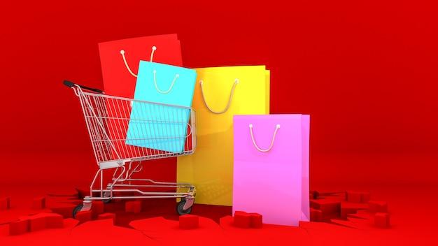 ひびの赤い背景の上のショッピングカートのカラフルな紙の買い物袋。ショッピングのコンセプト