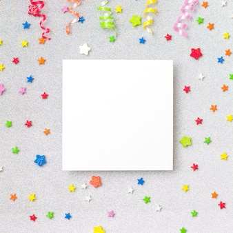 Colorful party background with copyspace. celebration concept. flat lay.