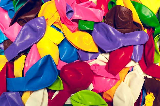 Colorful party balloons arrengement composition background