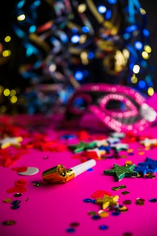 Colorful party composition with confetti