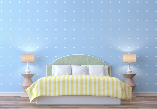 Colorful pastel bedroom with blue and white dot wallpaper 3d render