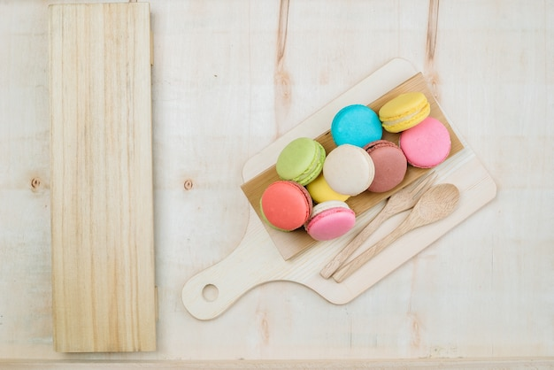 Colorful pastel cake macaron background from above