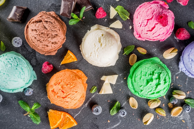 Colorful pastel ice cream with waffle cones