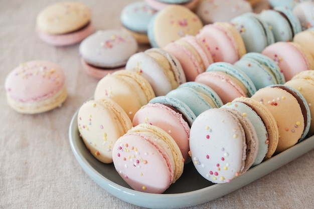 Colorful pastel macaroons