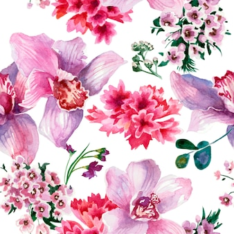 Colorful pattern, pink flowers isolated on white background. watercolor painting