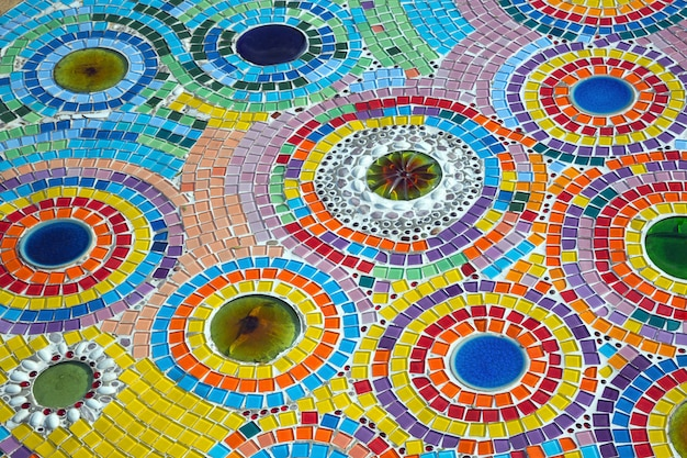 Colorful patterns of beautiful ceramics on the walkway.