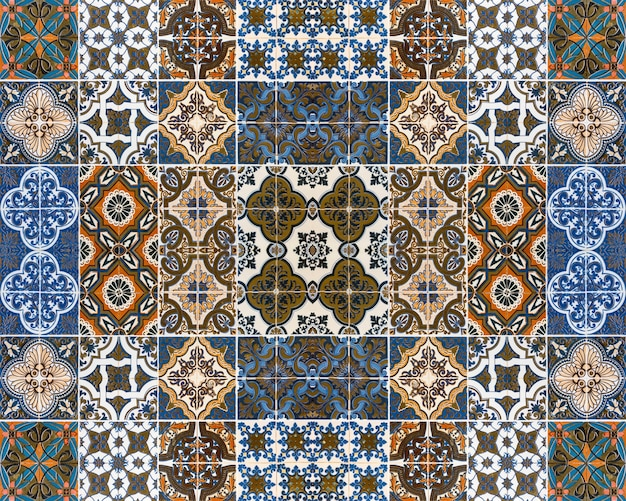 Colorful patterns of tiles for the background.