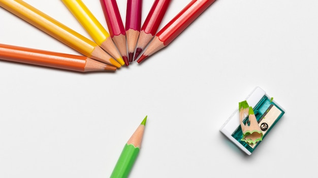 Colorful pencils concept with copy space