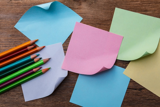 Colorful pencils and memo stickers