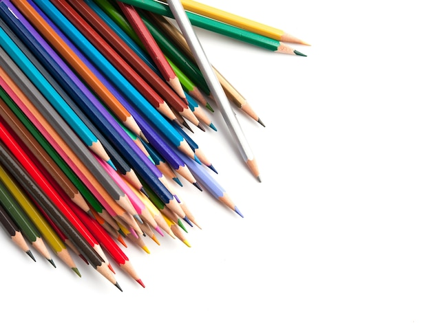 Colorful pencils on white background.