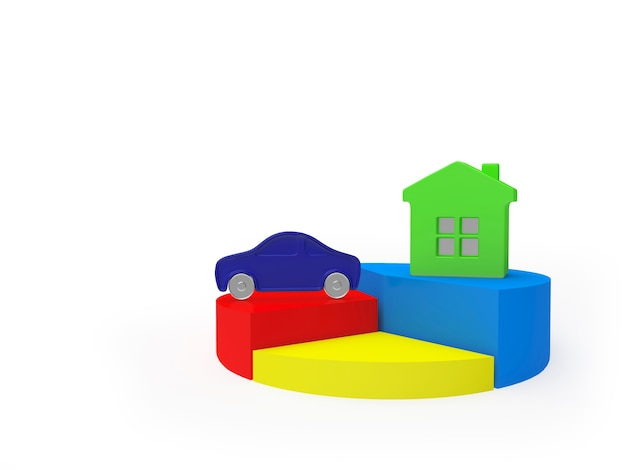 Colorful pie chart with house and car icons