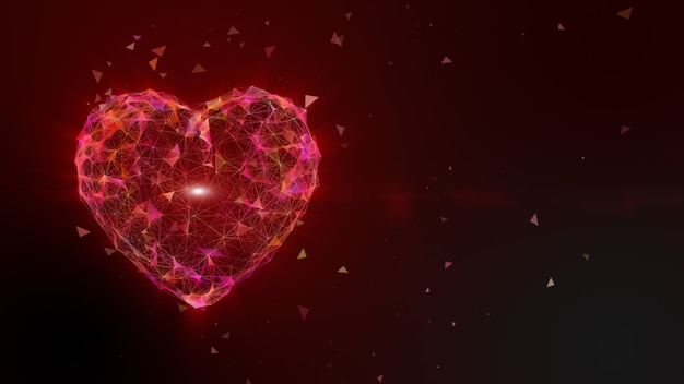 Colorful pink yellow heart shape point and line animation, light ray beam effect. valentine's day holiday animation - high technology. 3d rendering.